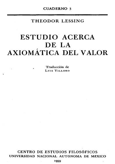 Estudio acerca de la axiomática del valor