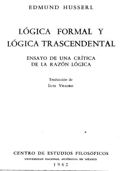 Lógica formal y lógica trascendental