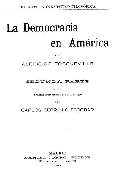 La democracia en América, t. II