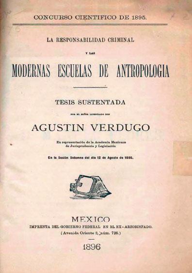 """La responsabilidad criminal y las modernas escuelas de antropología. Colección Fondo Reservado de la Biblioteca """"Dr. Jorge Carpizo"""", IIJ"""
