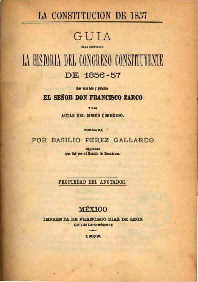 """Guía para consultar la historia del Congreso Constituyente de 1856-57. Colección Fondo Reservado de la Biblioteca """"Dr. Jorge Carpizo"""", IIJ"""