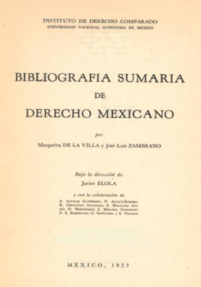 Bibliografía sumaria del derecho mexicano