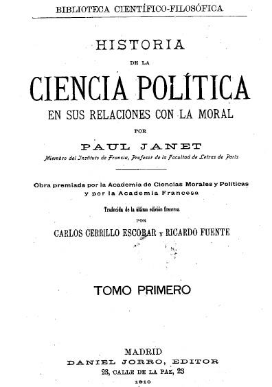 Historia de la ciencia política en sus relaciones con la moral, t. I