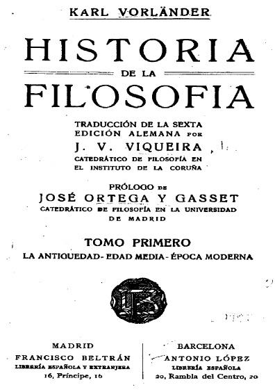 Historia de la filosofía, t. I