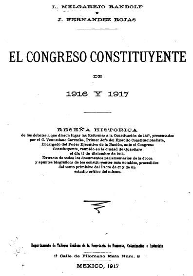 El Congreso Constituyente de 1916 y 1917