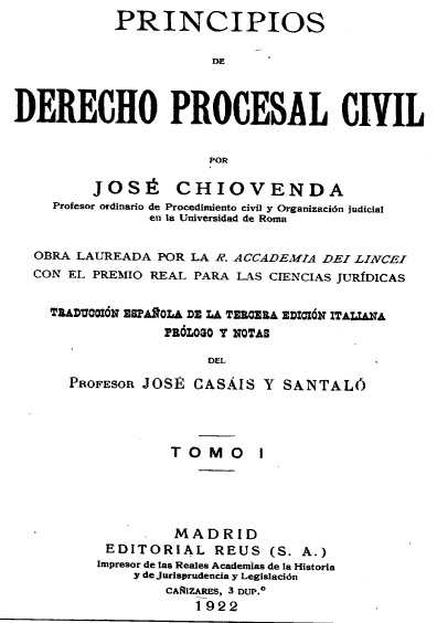 Principios de derecho procesal civil, t. I
