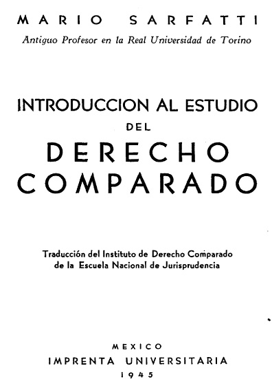 Introducción al estudio del derecho comparado