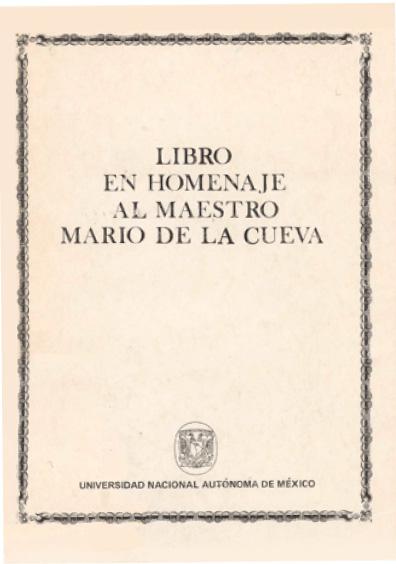 Libro en homenaje al maestro Mario de la Cueva