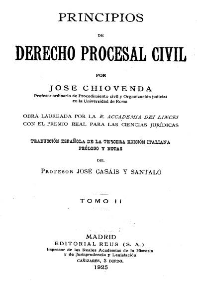 Principios de derecho procesal civil, t. II