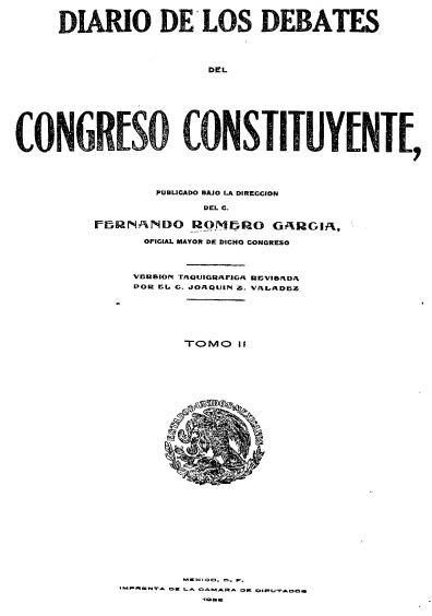 Diario de los debates del Congreso Constituyente, t. II