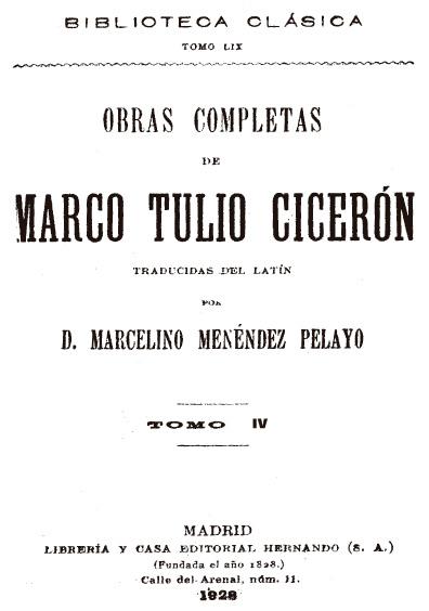 Obras completas de Marco Tulio Cicerón, t. IV