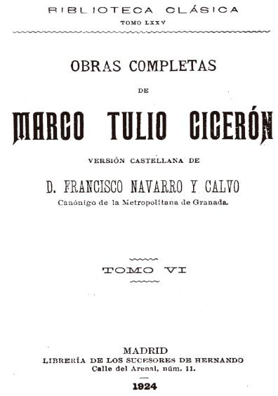 Obras completas de Marco Tulio Cicerón, t. VI