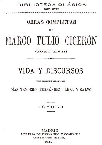 Obras completas de Marco Tulio Cicerón, t. XVII