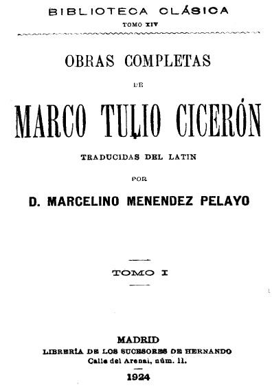 Obras completas de Marco Tulio Cicerón, t. I