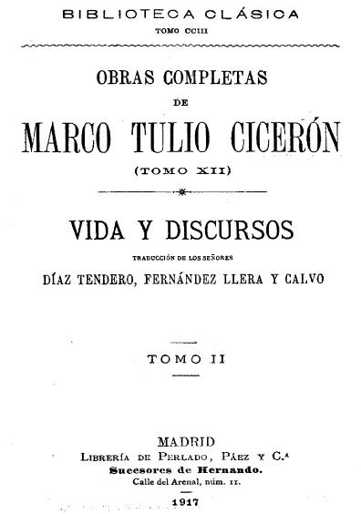 Obras completas de Marco Tulio Cicerón, t. XII