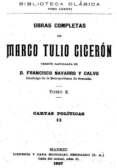 Obras completas de Marco Tulio Cicerón, t. X