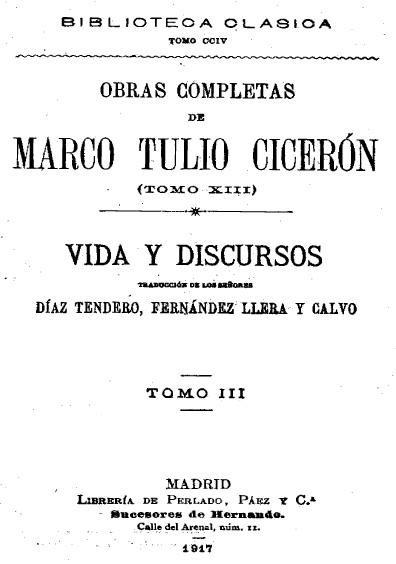 Obras completas de Marco Tulio Cicerón, t. XIII