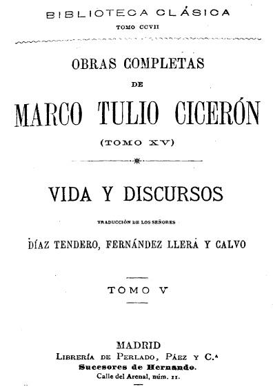 Obras completas de Marco Tulio Cicerón, t. XV