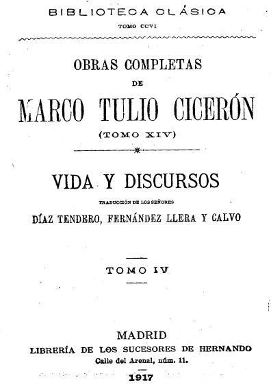 Obras completas de Marco Tulio Cicerón, t. XIV