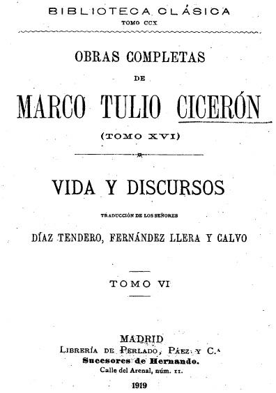 Obras completas de Marco Tulio Cicerón, t. XVI