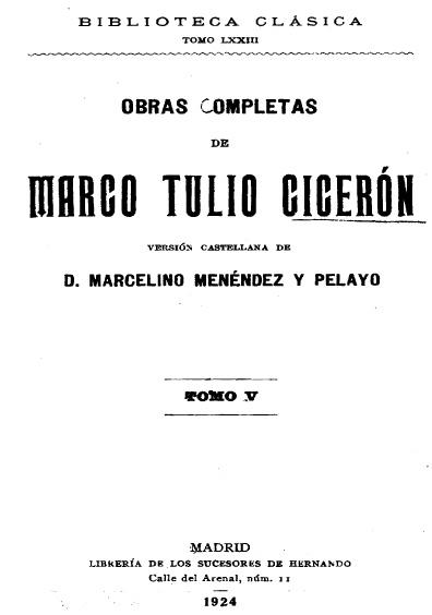 Obras completas de Marco Tulio Cicerón, t. V