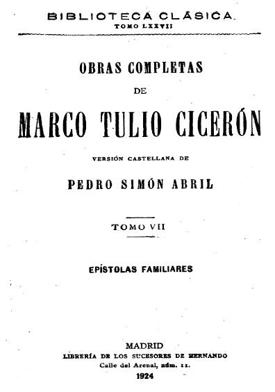 Obras completas de Marco Tulio Cicerón, t. VII