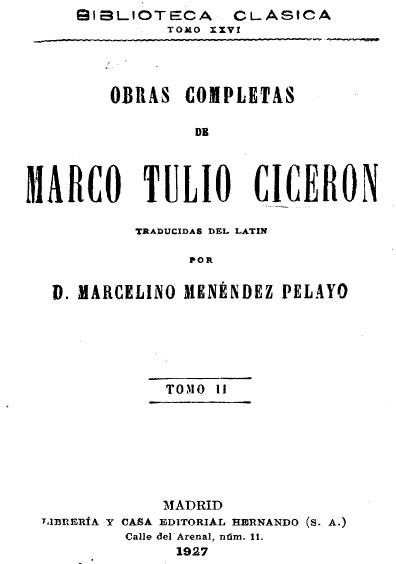 Obras completas de Marco Tulio Cicerón, t. II
