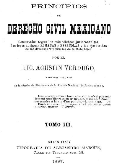 Principios de derecho civil mexicano, t. III
