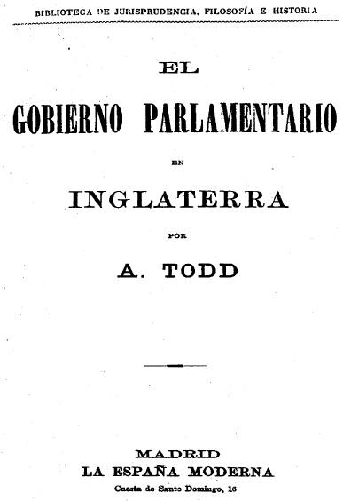 El gobierno parlamentario en Inglaterra, t. II