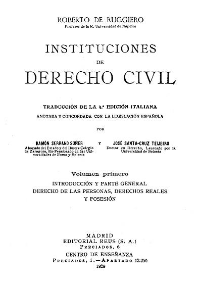 Instituciones de derecho civil, t. I
