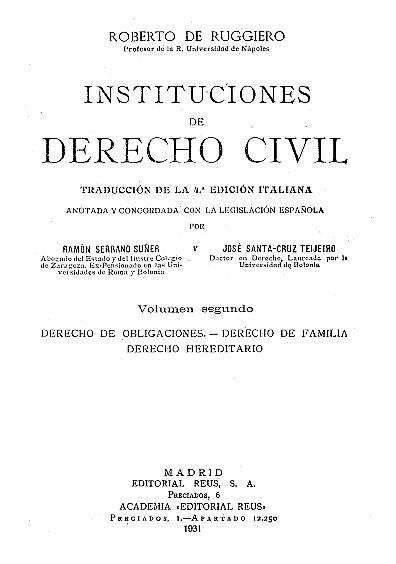 Instituciones de derecho civil, t. II