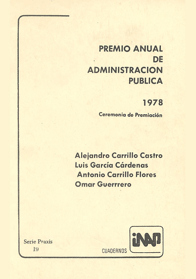 Praxis 019. Premio Anual de Administración Pública 1978. Ceremonia de premiación