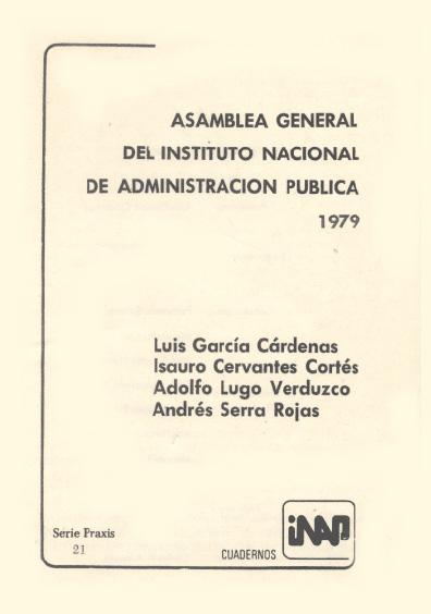 Praxis 021. Asamblea General del Instituto de Adminstración Pública, 1979