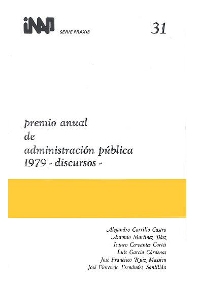 Praxis 031. Premio Anual de Administración Pública 1979. Discursos