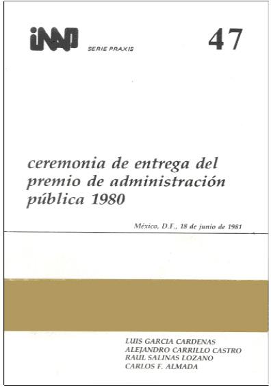 Praxis 047. Ceremonia de entrega del Premio de Administración Pública 1980