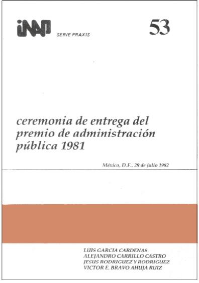 Praxis 053. Ceremonia de entrega del Premio de Administración Pública 1981