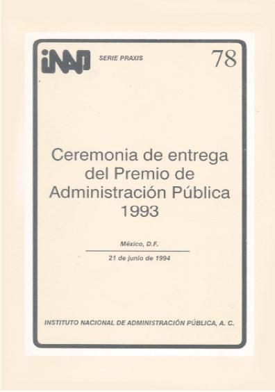 Praxis 078. Ceremonia de entrega del Premio de Administración Pública 1993