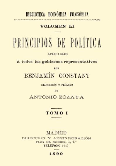Principios de política aplicables a todos los gobiernos representativos, t. I
