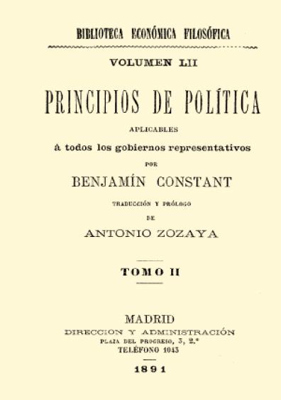 Principios de política aplicables a todos los gobiernos representativos, t. II