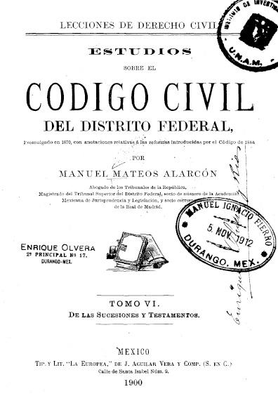 Estudios sobre el Código Civil del Distrito Federal, t. VI
