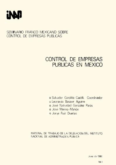 Control de empresas públicas en México, vol. I