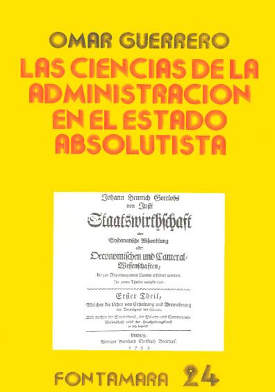 Las ciencias de la administración en el Estado absolutista