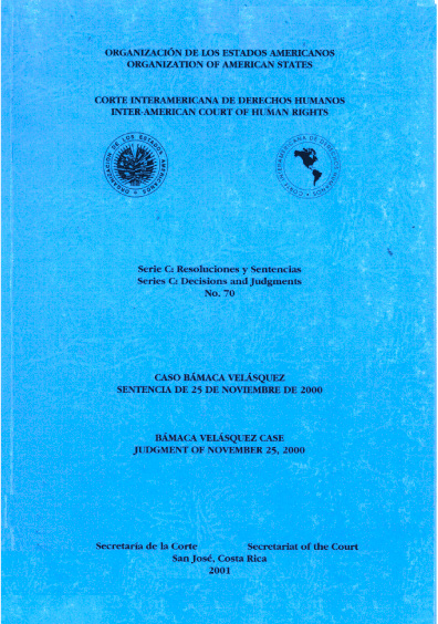Caso Bámaca Velásquez. Sentencia del 25 de noviembre de 2000