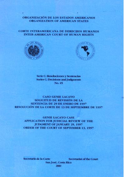 Caso Genie Lacayo. Sentencia del 29 de enero de 1997. Resolución de la Corte del 13 de septiembre de 1997