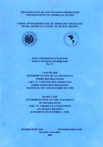 Caso Blake. Interpretación de la sentencia sobre reparaciones. Sentencia del 1 de octubre de 1999