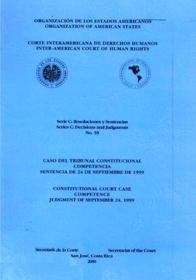 Caso del Tribunal Constitucional. Competencia. Sentencia del 24 de septiembre de 1999