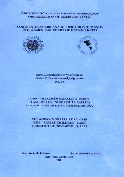 Caso Villagrán Morales y otros. Sentencia del 19 de noviembre de 1999