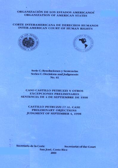 Caso Castillo Petruzzi y otros. Excepciones preliminares. Sentencia del 4 de septiembre de 1998