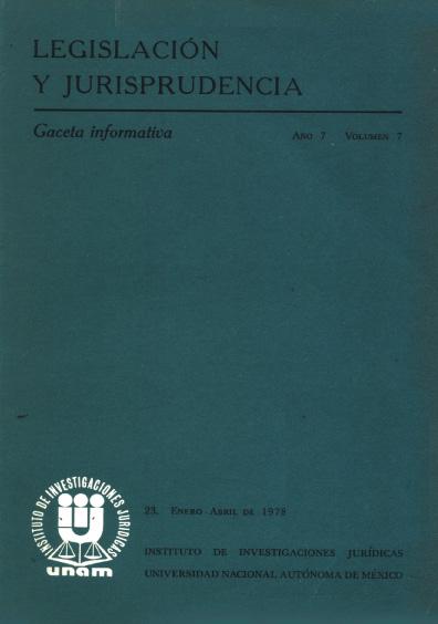 Legislación y jurisprudencia. Gaceta informativa, núm. 23