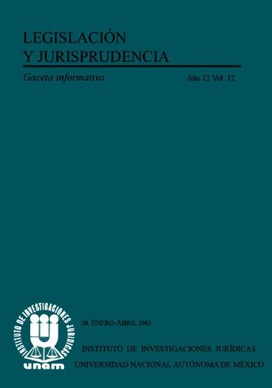 Legislación y jurisprudencia. Gaceta informativa, núm. 38